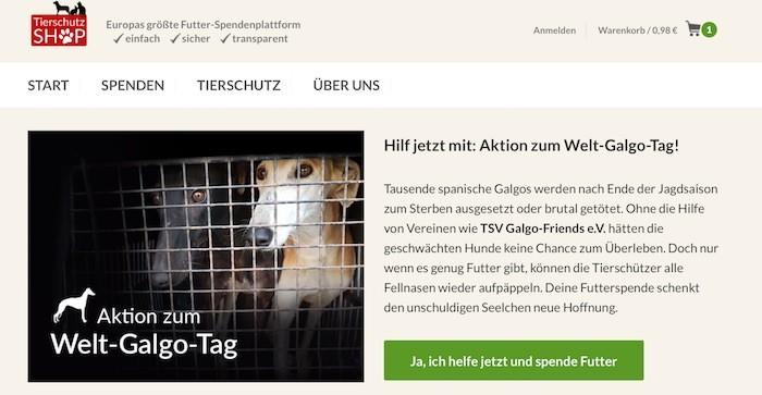 Tierschutz-Shop Webseite