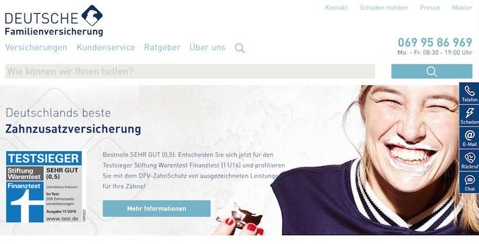 Deutsche Familienversicherung Webseite