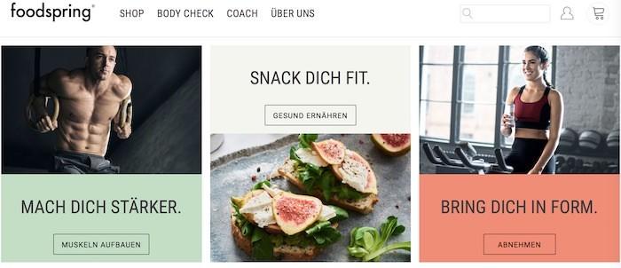 foodspring Webseite