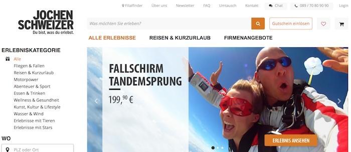 Jochen Schweizer Webseite