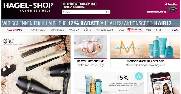 hagel-shop.de Webseite
