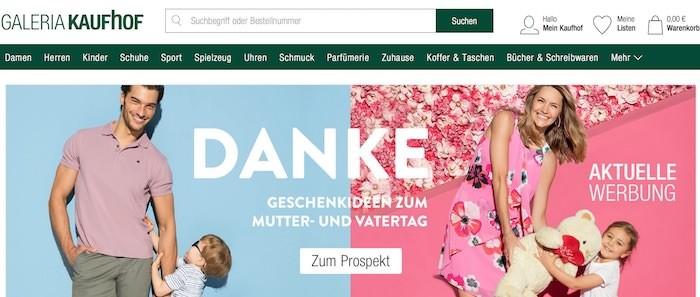 Galeria Kaufhof Webseite