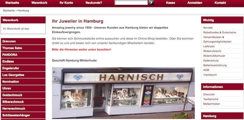 Juwelier Harnisch Webseite