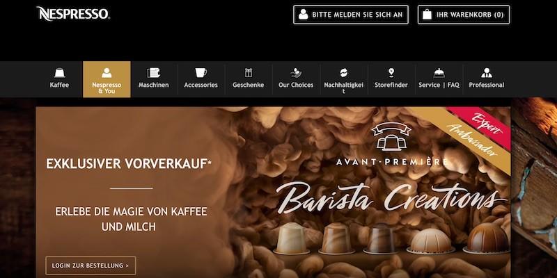 Nespresso Webseite