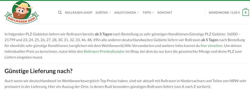Preiswerte Lieferung bei Rollrasen Rudi