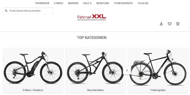 Fahrrad XXL Webseite