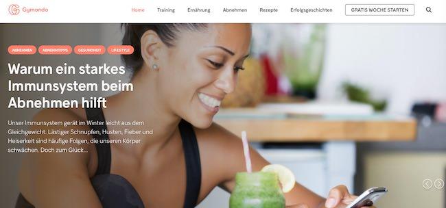 Gymondo Webseite
