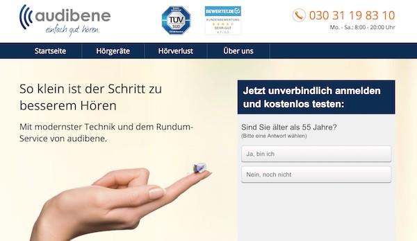 Audibene Webseite
